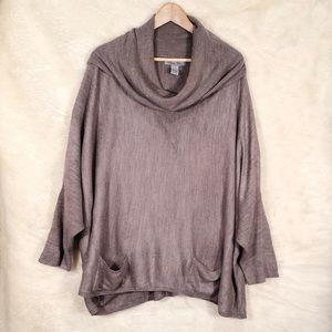 Oliva Sky Grey Cowlneck Poncho Sweater size XL